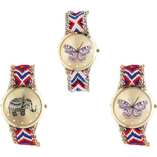 Neutron Modern Formal Butterfly And Elephant Analogue Multi Color Color Girls And Women Watch - G135-G158-G134 (Combo Of  3 )
