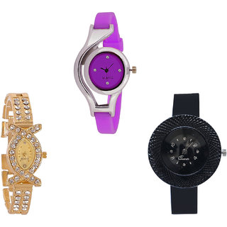 Neutron Contemporary Heart World Cup And Chronograph Analogue Purple, Gold And Black Color Girls And Women Watch - G4-G125-G57 (Combo Of  3 )