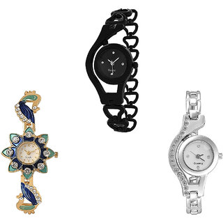 Neutron Latest Fashion Chain And Peacock Analogue Black, Gold And Silver Color Girls And Women Watch - G68-G119-G404 (Combo Of  3 )