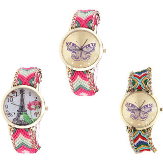 Neutron Latest Tread Butterfly And Paris Eiffel Tower Analogue Multi Color Color Girls And Women Watch - G139-G152-G132 (Combo Of  3 )