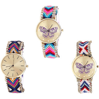 Neutron Treading Heart Butterfly Analogue Multi Color Color Girls And Women Watch - G130-G318-G135 (Combo Of  3 )