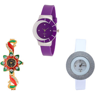 Neutron Treading Tread Peacock And Chronograph Analogue Purple, Gold And White Color Girls And Women Watch - G10-G120-G56 (Combo Of  3 )