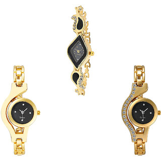 Neutron Latest Formal Chain Analogue Gold Color Girls And Women Watch - G266-G336-G114 (Combo Of  3 )