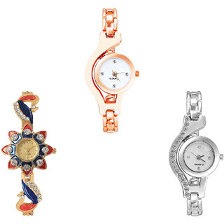 Neutron Latest Quartz Chain And Peacock Analogue Rose Gold, Gold And Silver Color Girls And Women Watch - G69-G118-G404 (Combo Of  3 )