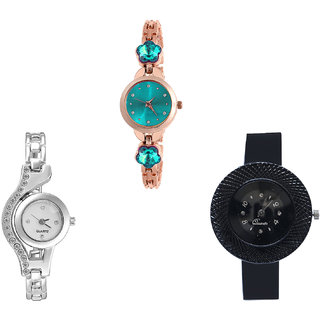Neutron New Wrist  Flower Dimond And Chronograph Analogue Rose Gold, Silver And Black Color Girls And Women Watch - G341-G404-G57 (Combo Of  3 )
