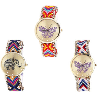 Neutron Modern Chronograph Butterfly And Elephant Analogue Multi Color Color Girls And Women Watch - G131-G311-G135 (Combo Of  3 )