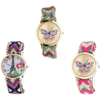 Neutron Best Unique Butterfly And Paris Eiffel Tower Analogue Multi Color Color Girls And Women Watch - G133-G153-G139 (Combo Of  3 )