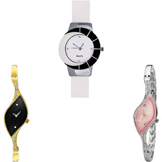 Neutron Contemporary Tread  Analogue White, Gold And Silver Color Girls And Women Watch - G11-G354-G405 (Combo Of  3 )