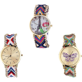 Neutron Classical Present Paris Eiffel Tower And Butterfly Analogue Multi Color Color Girls And Women Watch - G153-G313-G133 (Combo Of  3 )