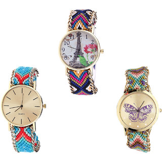 Neutron Classical Formal Paris Eiffel Tower And Butterfly Analogue Multi Color Color Girls And Women Watch - G153-G315-G133 (Combo Of  3 )
