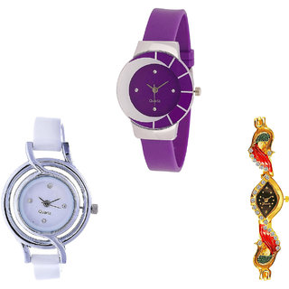Neutron New Quartz Peacock Analogue Purple, White And Gold Color Girls And Women Watch - G10-G50-G117 (Combo Of  3 )