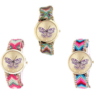 Neutron Latest Formal Butterfly Analogue Multi Color Color Girls And Women Watch - G133-G139-G130 (Combo Of  3 )