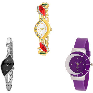 Neutron Brand New Tread Peacock Analogue Gold, Silver And Purple Color Girls And Women Watch - G116-G352-G10 (Combo Of  3 )