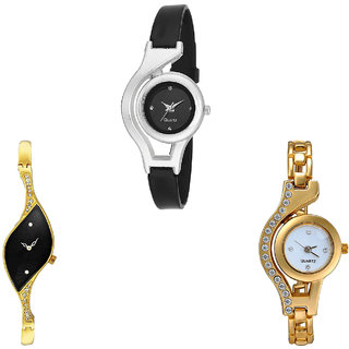 Neutron New Exclusive World Cup And Chain Analogue Black And Gold Color Girls And Women Watch - G1-G354-G115 (Combo Of  3 )