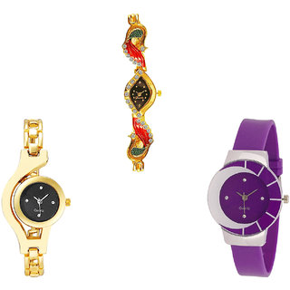 Neutron Contemporary Wrist  Peacock And Chain Analogue Gold And Purple Color Girls And Women Watch - G117-G336-G10 (Combo Of  3 )