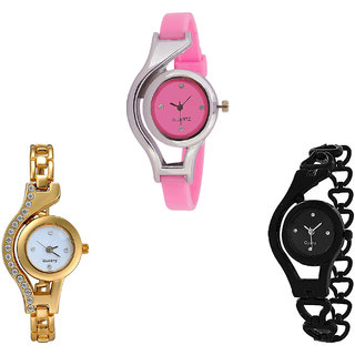 Neutron Modern Formal World Cup And Chain Analogue Pink, Gold And Black Color Girls And Women Watch - G3-G115-G68 (Combo Of  3 )