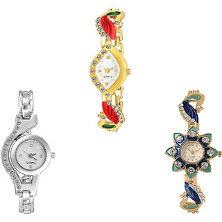 Neutron Latest Quartz Peacock Analogue Gold And Silver Color Girls And Women Watch - G116-G404-G119 (Combo Of  3 )