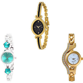 Neutron Brand New Stylish Flower Dimond And Chain Analogue Gold And Silver Color Girls And Women Watch - G121-G339-G115 (Combo Of  3 )
