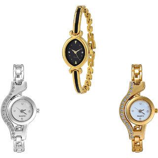 Neutron Brand New Designer Chain Analogue Gold And Silver Color Girls And Women Watch - G121-G404-G115 (Combo Of  3 )