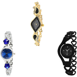 Neutron Classical Heart Flower Dimond And Chain Analogue Gold, Silver And Black Color Girls And Women Watch - G266-G338-G68 (Combo Of  3 )