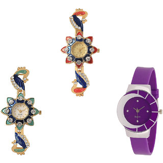 Neutron Contemporary Present Peacock Analogue Gold And Purple Color Girls And Women Watch - G118-G119-G10 (Combo Of  3 )