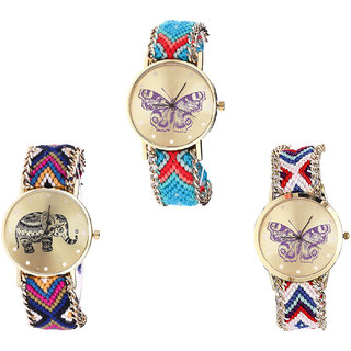 Neutron New Wrist  Butterfly And Elephant Analogue Multi Color Color Girls And Women Watch - G137-G311-G135 (Combo Of  3 )