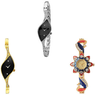 Neutron Classical Exclusive Peacock Analogue Silver And Gold Color Girls And Women Watch - G352-G354-G118 (Combo Of  3 )