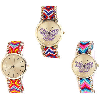 Neutron Best Quartz Butterfly Analogue Multi Color Color Girls And Women Watch - G134-G165-G130 (Combo Of  3 )
