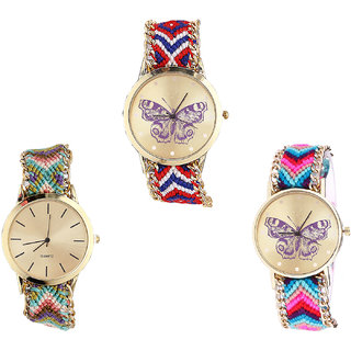 Neutron Best Present Butterfly Analogue Multi Color Color Girls And Women Watch - G134-G167-G130 (Combo Of  3 )