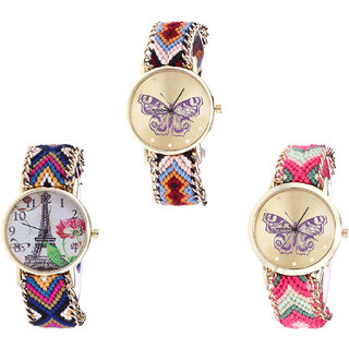 Neutron Contemporary Luxury Butterfly And Paris Eiffel Tower Analogue Multi Color Color Girls And Women Watch - G138-G153-G139 (Combo Of  3 )