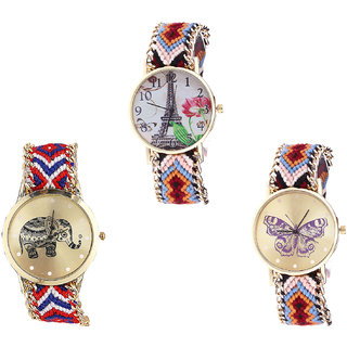 Neutron Treading Exclusive Paris Eiffel Tower, Elephant And Butterfly Analogue Multi Color Color Girls And Women Watch - G151-G158-G138 (Combo Of  3 )