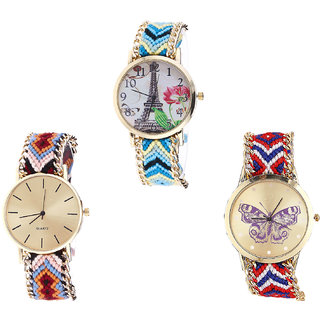 Neutron Classical Analogue Paris Eiffel Tower And Butterfly Analogue Multi Color Color Girls And Women Watch - G149-G316-G134 (Combo Of  3 )