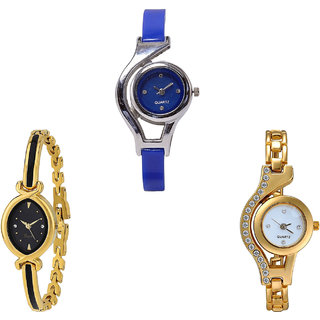 Neutron Latest Quartz World Cup And Chain Analogue Blue And Gold Color Girls And Women Watch - G2-G121-G115 (Combo Of  3 )
