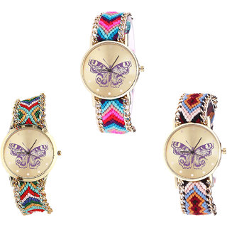 Neutron Latest Wrist  Butterfly Analogue Multi Color Color Girls And Women Watch - G130-G132-G138 (Combo Of  3 )