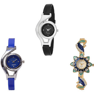 Neutron Best Designer World Cup And Peacock Analogue Black, Blue And Gold Color Girls And Women Watch - G1-G2-G119 (Combo Of  3 )