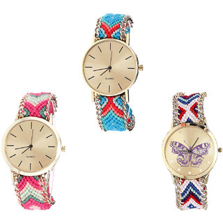 Neutron Modern Exclusive Butterfly Analogue Multi Color Color Girls And Women Watch - G315-G317-G135 (Combo Of  3 )