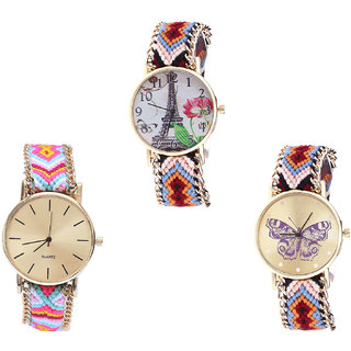 Neutron Modern Unique Paris Eiffel Tower And Butterfly Analogue Multi Color Color Girls And Women Watch - G151-G319-G138 (Combo Of  3 )