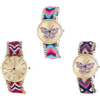 Neutron Best Wrist  Butterfly Analogue Multi Color Color Girls And Women Watch - G130-G168-G140 (Combo Of  3 )