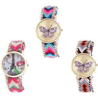 Neutron Latest Analogue Butterfly And Paris Eiffel Tower Analogue Multi Color Color Girls And Women Watch - G130-G152-G138 (Combo Of  3 )