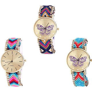 Neutron New Designer Butterfly Analogue Multi Color Color Girls And Women Watch - G140-G164-G137 (Combo Of  3 )