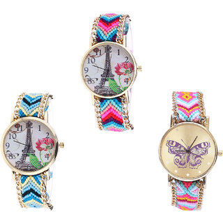 Neutron Contemporary Fashion Paris Eiffel Tower And Butterfly Analogue Multi Color Color Girls And Women Watch - G143-G149-G142 (Combo Of  3 )