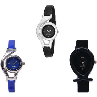 Neutron Latest Analogue World Cup And Fish Shape Analogue Black And Blue Color Girls And Women Watch - G1-G2-G55 (Combo Of  3 )
