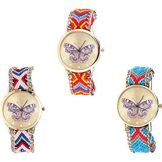 Neutron Contemporary Quartz Butterfly Analogue Multi Color Color Girls And Women Watch - G131-G135-G136 (Combo Of  3 )