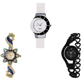 Neutron Modern Rich Peacock And Chain Analogue White, Gold And Black Color Girls And Women Watch - G11-G119-G68 (Combo Of  3 )