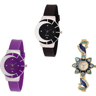 Neutron Classical Designer Peacock Analogue Black, Purple And Gold Color Girls And Women Watch - G8-G10-G119 (Combo Of  3 )