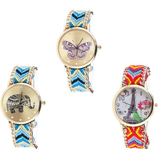 Neutron Latest Collegian Butterfly, Elephant And Paris Eiffel Tower Analogue Multi Color Color Girls And Women Watch - G136-G160-G144 (Combo Of  3 )