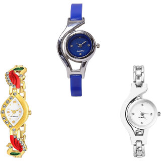 Neutron Treading Fashion World Cup, Peacock And Chain Analogue Blue, Gold And Silver Color Girls And Women Watch - G2-G116-G70 (Combo Of  3 )