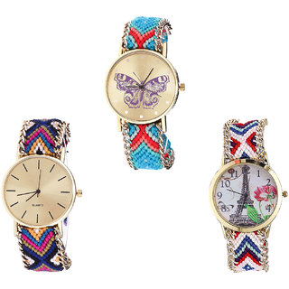 Neutron Latest Diwali Butterfly And Paris Eiffel Tower Analogue Multi Color Color Girls And Women Watch - G137-G318-G148 (Combo Of  3 )