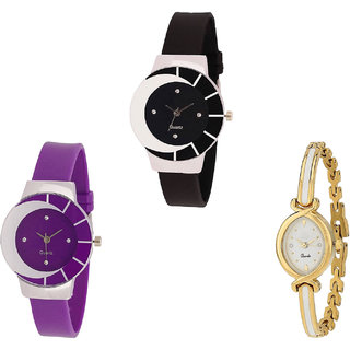 Neutron Classical Wrist   Analogue Black, Purple And Gold Color Girls And Women Watch - G8-G10-G123 (Combo Of  3 )