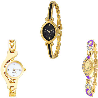 Neutron Brand New Wrist  Chain Analogue Gold Color Girls And Women Watch - G121-G337-G124 (Combo Of  3 )